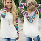 Women Striped Blouse Ladies Casual Loose Long Sleeve Pullover Hoodie Tops Shirt