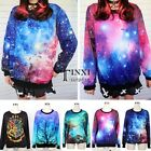 Womens Galaxy Space Pattern Hip Hop T shirts Sweatshirt Tops Blouse Jumper TXSU