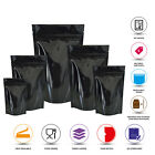 BLACK SHINY HEAT SEALABLE STAND UP POUCH COFFEE BAGS WITH ZIP LOCK PROTEIN PAK
