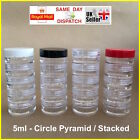 CIRCLE 5ml SCREW TOP JAR STACKING POT CONTAINER LIP BALM CRAFT CREAM NAILS CHEAP