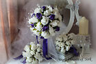 WEDDING FLOWERS PURPLE AND IVORY SET WITH CRYSTALS, RIBBONS.