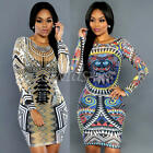 Vintage Women Long Sleeve Bodycon Lady Party Cocktail Pencil Short Midi Dress