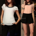 New Fashion Womens Ladies Chiffon Short Sleeve T Shirt Casual Tops Beads Blous