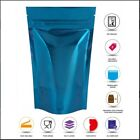 BLUE HEAT SEALABLE STAND UP POUCH COFFEE BAG WITH ZIP LOCK PROTEIN PAK MYLAR BAG