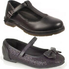 New Kids Girls Childrens Formal Black School Bow Loafers Pumps Shoes Sizes 6-2