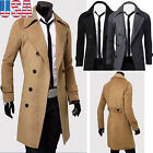 Winter Men Slim Stylish Trench Coat Double Breasted Overcoat Long Jacket Parka