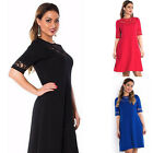 PLUS SIZE Womens Ladies Long Sleeve Lace Cocktail Evening Skater Party Dress Hot