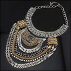 intage Jewelry Silver Chain Statement Bib Choker Mixed Pendant Necklace Hot WT88