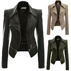 Slim Fit Women New Black Biker Motorcycle Synthetic Leather Zipper Jacket Coat *