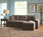 Modern Convertable Sectional Sleeper Sofa w/ Pull Out Bed & Pillows Charcoal