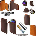 For Samsung Galaxy S5 G900 Sleeve Genuine Real Leather POUCH Case Cover + Pen