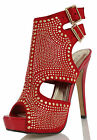 Red Faux Suede Rhinestone Studded Open Toe Cutout Ankle Strap High Heels Count