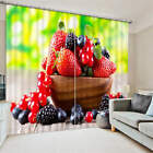 Delicious Strawberry Blueberry 3D Blockout Photo Printing Curtains Draps Fabric
