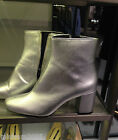 ZARA LAMINATED HIGH HEEL ANKLE BOOTS SILVER 35-41 REF. 2102/201  AW16