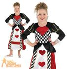 Girls Queen of Hearts Costume Child Alice Fairy Tale Mad Hatter Fancy Dress