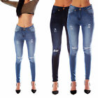 Womens Ladies Stretch Blue Faded Ripped Slim Fit Skinny Denim Jeans Sizes 6 - 18