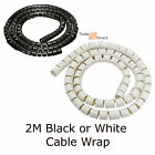 New 2 Metre Cable Tidy Kit PC TV Wire Organising Wrap Spiral Office Home