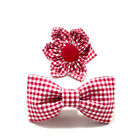 Cat Dog Bow Tie Flower Bow Red Checkered Collar Accessory New Handmade in USA