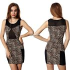 Women Sexy Slim Sleeveless Sheer Mesh Patchwork Stretch Leopard Mini Dress BF9