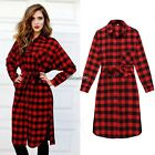 Women Sexy Long Sleeve Plaid Cocktail Evening Party Short Dress Shirt Tops BF9