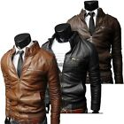 Men PU Leather Biker Stand collar Coat Fashion Outwear Motorcycle Zipper Slim