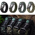 Rope Paracord Survival Bracelet Flint Fire Starter Compass Whistle Outdoor WT88