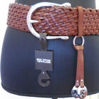 NWT MICHAEL KORS BRAIDED HORSESHOE-BUCKLE LEATHER BELT- LNK BROWN/SILVER - SMALL