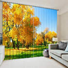 Autumn Park Yellow Leaves 3D Blockout Photo Printing Curtains Drap Fabric Window