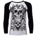 Official Top SLAYER Black & White SKULLS Band Raglan Tee All Sizes