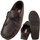 Lambland Mens Moccasin Slippers with Leather Upper and Cotton Lining