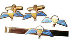 Airborne Parachute Wings Cufflinks, Tie Clip, Lapel Badge, Set or Individual