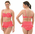 POLKA High Waist Bikini Swimming Costume Pink Red White PADDED French Frilly Dot
