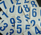 "75mm 3"" Blue on White Sticky Numbers, Numbering Stickers, Plastic Labels"