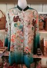 NWT CITRON SANTA MONICA ENCHANTED FOREST SILK MANDARIN COLLAR TUNIC/SHIRT
