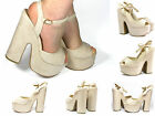 Demi Wedge Chunky Platform Very High Heels Ankle Strap Suede Shoes Beige Size