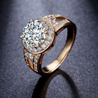 2KT Clear Round Cubic Zirconia Mounting Halo Promise Ring For Women Sz5.5-Sz9