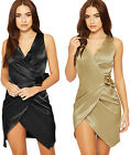 Womens Wrapover Tied V-Neck Sleeveless Party Dress Ladies Curved Hem Short 8-14