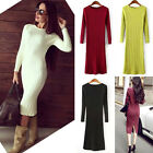 Women Twisted knitted Back Slit Long Jumper midi pullover Bodycon Sweater Dress