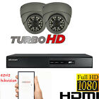 2x HD 1080P SECURITY CAMERA CCTV SYSTEM HIKVISION DVR 4CH HDMI P2P DOME 2.4MP