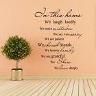 In This Home Wall Sticker Family House Rule Inspired Quote Vinyl Removable Decor