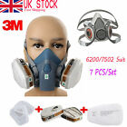 7 in 1 Set Respirator Painting Spraying Half Face Gas Mask For 3M 7502 6200 #2W