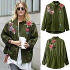 Roses Floral Animal Embroidered Oversized Parka Jacket Military Army Green Coat