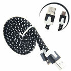 Strong Flat Braided Fabric Micro USB Data Charger Cable 1M 2M 3M for Samsung