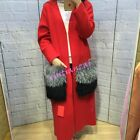 women winter cashmere Wool blendcoat with big real fur pocket lady cardigans new