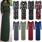 New Womens Ladies Long Sleeve Toga Party Maxi Dress Plain&Printed Plus Sizes