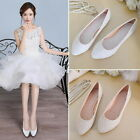 White/Red/Beige Lace Silk Satin Ballet Flats Wedding Shoes Bridal Shoe Size 5-11