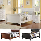 Winter Dreams White Cherry Espresso Wooden Sleigh Design Twin / Full Youth Bed