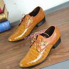 Mens Pointed Toe Leisure Business Dress Formal Faux Leather Shoes Retro 2016