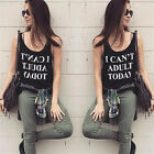 Sexy Women Casual Letter Printing Crewneck Vest Tops Sleeveless Blouse T-Shirt