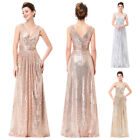Elegant Long Sequin GLITTER Evening Party Dress Formal Prom Bridesmaid Gown SALE